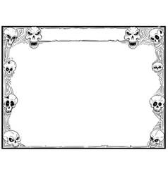 Halloween frame with skulls vector