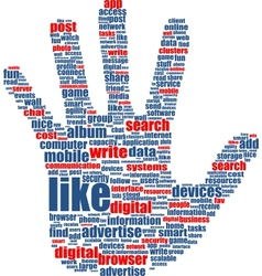 hands which is composed of text keywords on social vector image