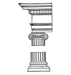 Ionic order doric vintage engraving vector