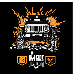 Jeep wrangler - suv car on black - elements for vector