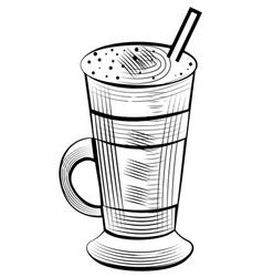 latte drink in glass with tube coffee milk sketch vector image