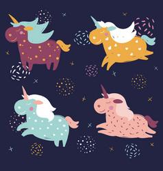 Magic cute dreamy fantasy unicorns in the space vector