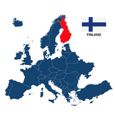 Map of europe with highlighted finland vector