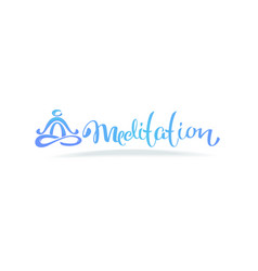 meditation logo with lettering composition and vector image