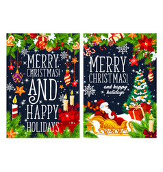 merry christmas winter holidays greeting banner vector image