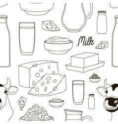 Milk set pattern vector