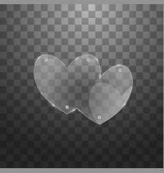 Modern glass two hearts on sample vector