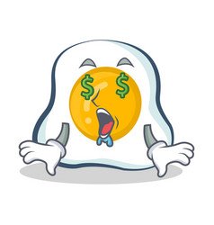 money eye fried egg character cartoon vector image