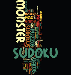Monster sudoku text background word cloud concept vector