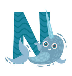 Narwhal with letter n on vector