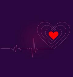 Neon cardiogram heartbeat vector