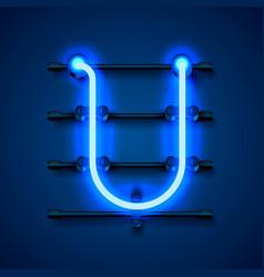 Neon font letter u art design signboard vector