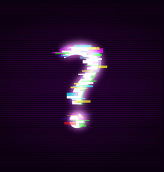 Neon question mark with glitch effect abstract vector