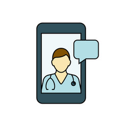 online doctor on your smartphone outline vector image