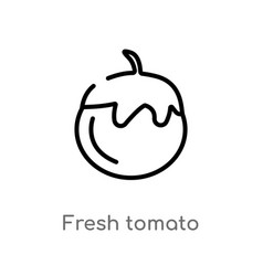 outline fresh tomato icon isolated black simple vector image