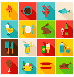 picnic grill colorful icons vector image