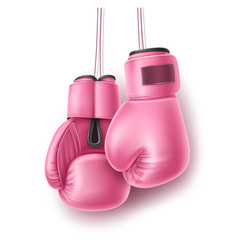 Pink pair boxing glove on lace realistic vector