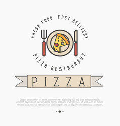 Pizza logo with thin line icons of plate knif vector