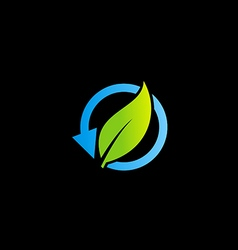 recycle bio organic arrow leaf logo vector image