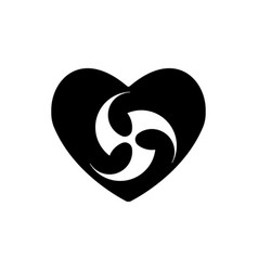 religious tomoe sign in heart heart black icon vector image