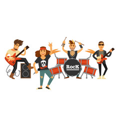 Rock music band singers and musicians with musical vector