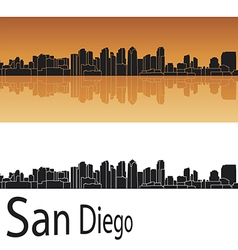 San Diego skyline in orange background vector image