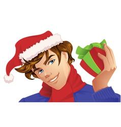 Santa Man Holding a Christmas Gift vector image
