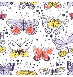 Seamless pattern with butterfly Hand drawn vector