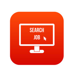 search job icon digital red vector image