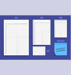 set crumpled four standart blank montly vector image