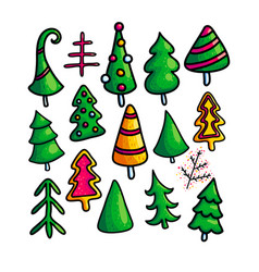 set of christmas fir trees on white background vector image