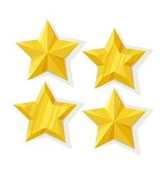 set of flat metallic golden stars vector image