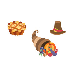 Set thanksgiving pie horn plenty hat vector