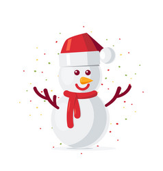 simple christmas snowman in flat style vector image