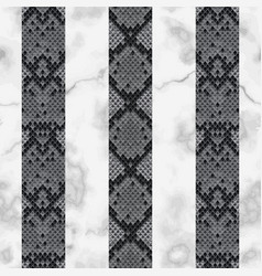 snake skin and marble vertical striped seamless vector image