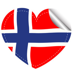 Sticker design for flag of norway vector
