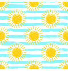 Sun pattern seamless striped background hand vector