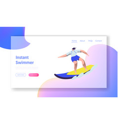 surfing sport woman riding sea wave at surf board vector image