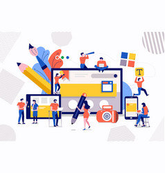 Teamwork web design and development vector
