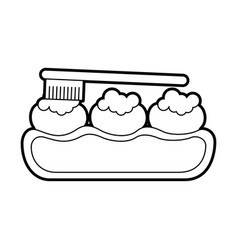 tooth care with toothbrush vector image