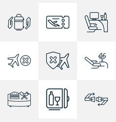 Travel icons line style set with lounge cancelled vector