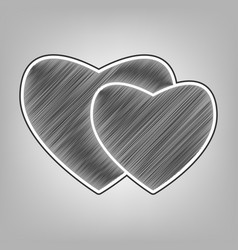 two hearts sign pencil sketch imitation vector image