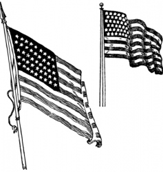 Us flag sketch vector