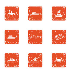 Water spectacle icons set grunge style vector
