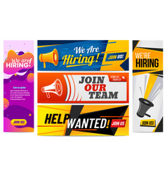 we are hiring banners join our team vacancy vector image
