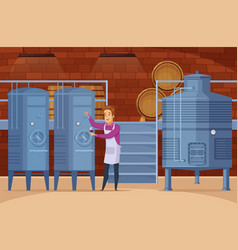 Winery production facility cartoon composition vector