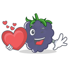 With heart blackberry character cartoon style vector