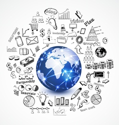world and business concept with doodle business vector image