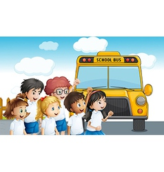 Young students waiting for schoolbus vector