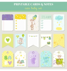 Baby Boy Card Set - with Cute Giraffe vector image